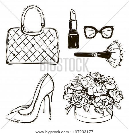 Vector Fashion Black And White Sketch Set. Hand Drawn Graphic Shoes, Bag, Makeup Brush, Lipstick, Fl