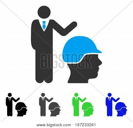 Builder Management flat vector icon. Colored builder management gray, black, blue, green pictogram versions. Flat icon style for web design.