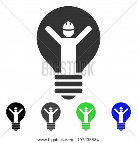 Electrician flat vector pictograph. Colored electrician gray, black, blue, green icon variants. Flat icon style for web design.