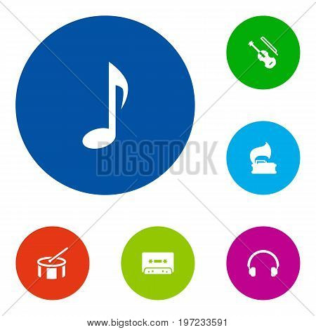 Collection Of Turntable, Tape, Fiddle And Other Elements.  Set Of 6 Music Icons Set.