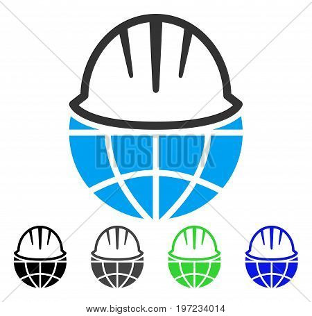 Global Helmet flat vector pictogram. Colored global helmet gray, black, blue, green icon versions. Flat icon style for graphic design.