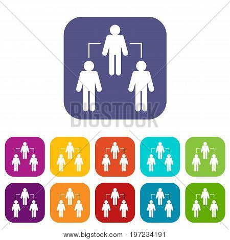 Social network social network icons set vector illustration in flat style in colors red, blue, green, and other