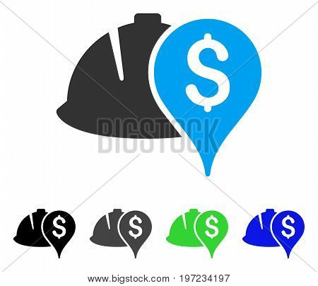 Helmet And Money Pointer flat vector illustration. Colored helmet and money pointer gray, black, blue, green pictogram versions. Flat icon style for graphic design.