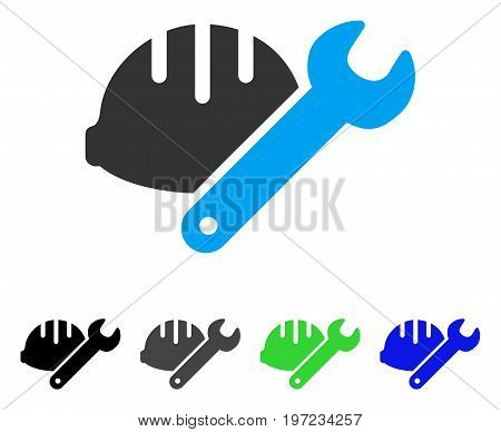 Helmet With Wrench flat vector icon. Colored helmet with wrench gray, black, blue, green icon versions. Flat icon style for graphic design.