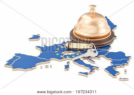EU booking concept. European Union flag with hotel key and reception bell 3D rendering