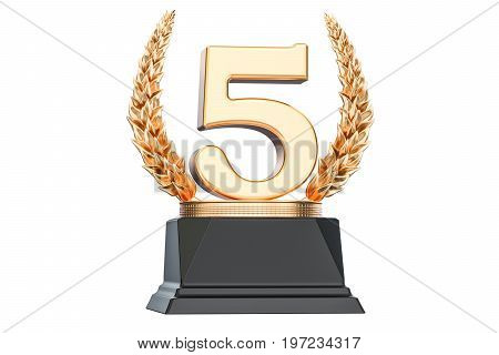 Fifth place trophy cup 3D rendering isolated on white background