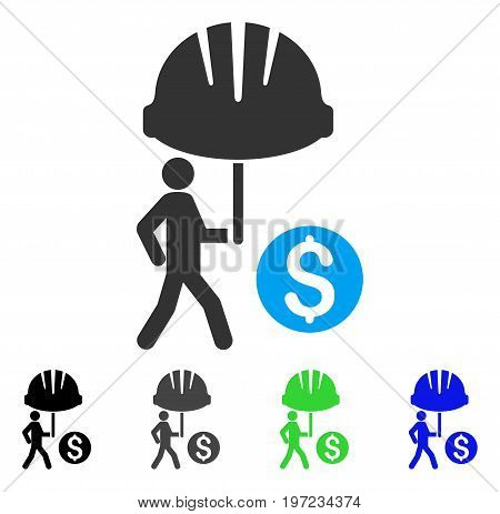 Industrial Financial Coverage flat vector illustration. Colored industrial financial coverage gray, black, blue, green pictogram variants. Flat icon style for application design.