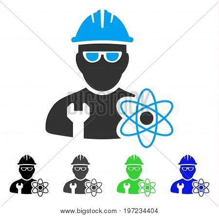Industrial Scientist flat vector illustration. Colored industrial scientist gray, black, blue, green pictogram variants. Flat icon style for graphic design.