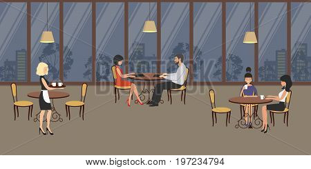 People in the restaurant. A man and a woman are sitting at a table, at another table - young women. The waiter carries dishes. Interior of the cafe in the evening. Vector illustration.