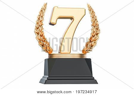 Seventh place trophy cup 3D rendering isolated on white background