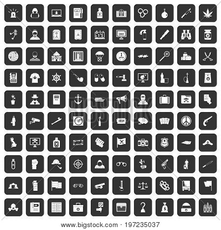 100 crime investigation icons set in black color isolated vector illustration