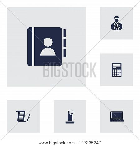 Collection Of Address Book, Contract, Calculator And Other Elements.  Set Of 6 Cabinet Icons Set.
