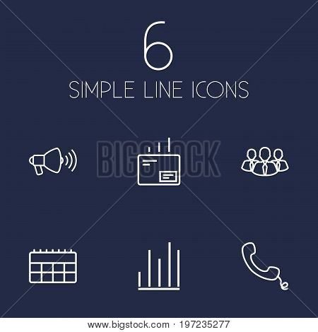 Collection Of Handset, Team, Mail Elements.  Set Of 6 Trade Outline Icons Set.