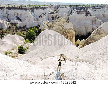 Carved stairway into Valley of the Kings in Cappadocia, Turkey