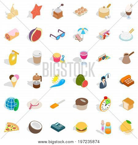 Beach relaxation icons set. Isometric style of 36 beach relaxation vector icons for web isolated on white background