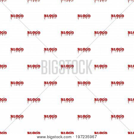 Word blood pattern seamless repeat in cartoon style vector illustration