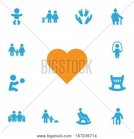 Collection Of Father With Son, Playing, Grandma Elements.  Set Of 13 Relatives Icons Set.
