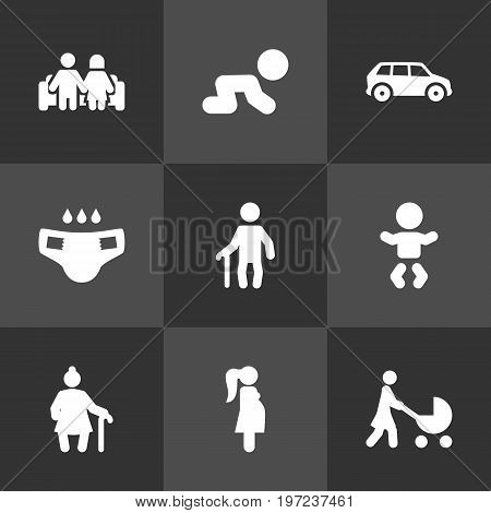 Collection Of Grandma , Expectant Mother, Kid Elements.  Set Of 9 Relatives Icons Set.