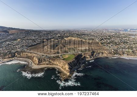 Aerial view Whites Point on the San Pedro coastline in Los Angeles, California.
