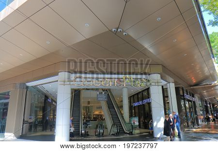 BRISBANE AUSTRALIA - JULY 9, 2017: Unidentified people visit Queens Plaza shopping mall on Queen Street in downtown Brisbane.