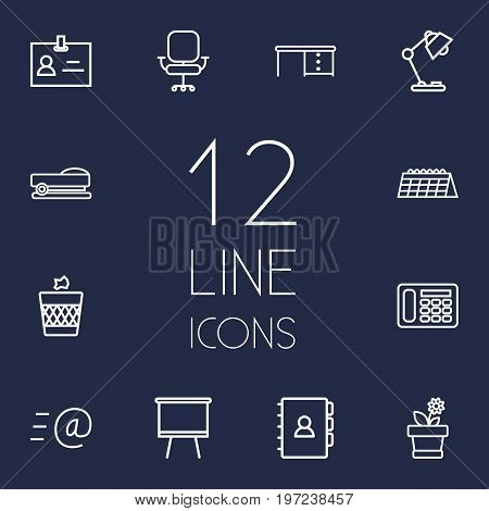 Collection Of Telephone, Staple, Board Stand Elements.  Set Of 12 Bureau Outline Icons Set.