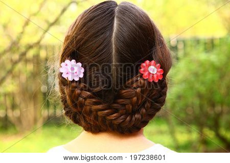 Teenager Girl Head Back View With Plait