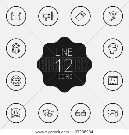 Collection Of Masks, Tv Set, Theater And Other Elements.  Set Of 12 Pleasure Outline Icons Set.