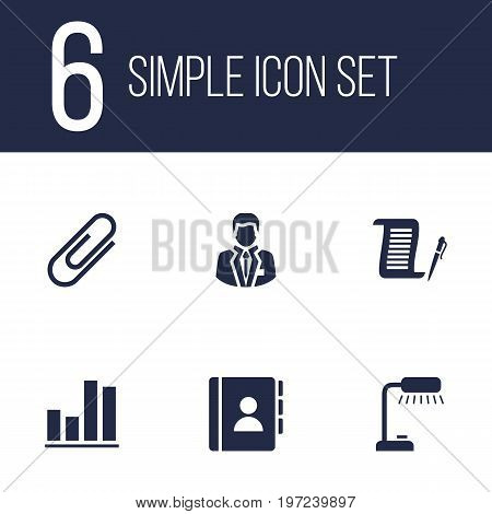 Collection Of Contract, Address Book, Manager And Other Elements.  Set Of 6 Cabinet Icons Set.