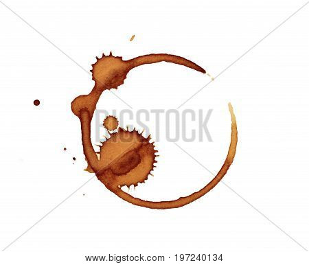 Isolate brown grunge coffee stain a close up photo image of brown grunge coffee stain mark from bottom of cup isolated on white background present a detail of grunge coffee stain pattern and texture