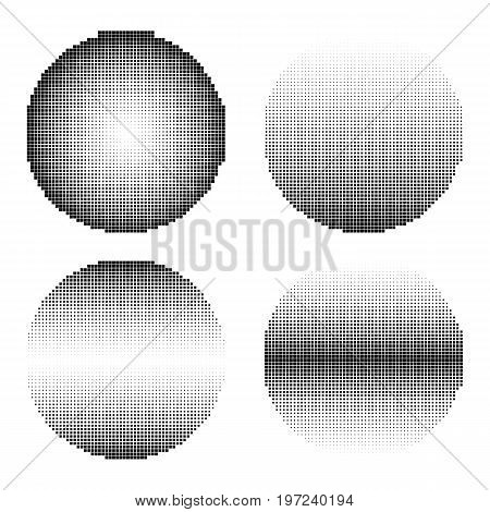 Set of halftone squares black color vector circle shapes. Abstract dotted stippling shapes.