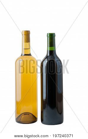 One each of red and white wine isolated on a white background with a clipping path