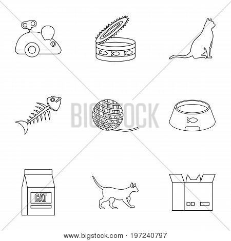 Cat house icons set. Outline set of 9 cat house vector icons for web isolated on white background