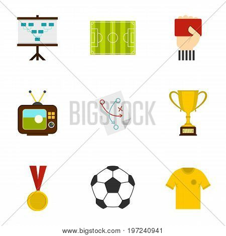 Football briefing icons set. Flat set of 9 football briefing vector icons for web isolated on white background