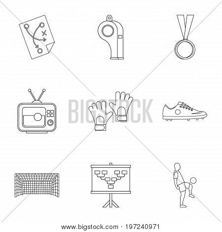 Football briefing icons set. Outline set of 9 football briefing vector icons for web isolated on white background