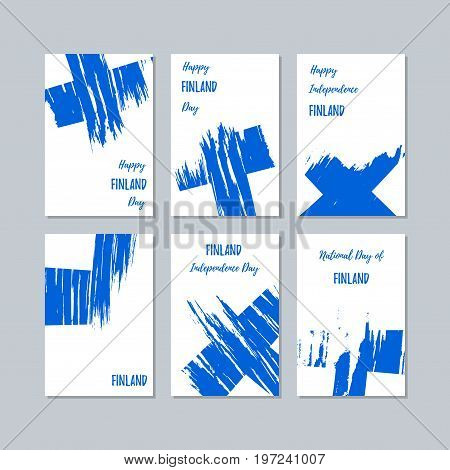 Finland Patriotic Cards For National Day. Expressive Brush Stroke In National Flag Colors On White C
