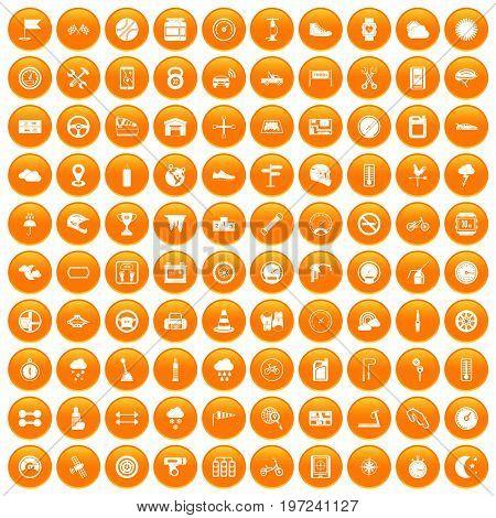 100 motorsport icons set in orange circle isolated on white vector illustration