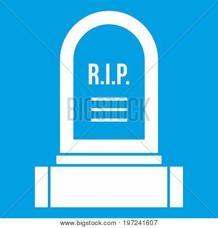 Headstone icon white isolated on blue background vector illustration