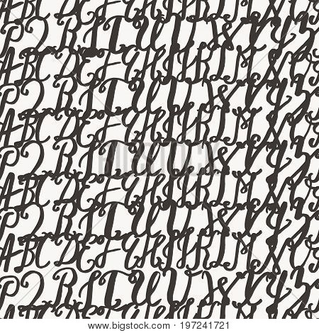 Seamless pattern with hand drawn alphabet. Imitation of graffiti. Brush painted letters. Handwritten alphabet. for design background, invitation, card, banner, poster etc.