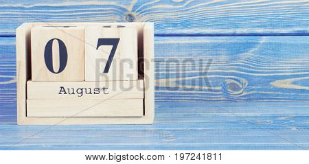 Vintage Photo, August 7Th. Date Of 7 August On Wooden Cube Calendar