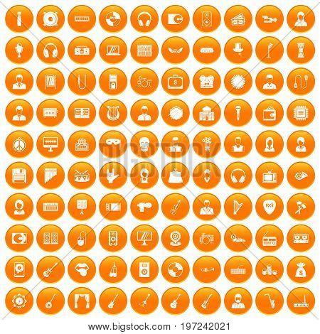 100 music icons set in orange circle isolated on white vector illustration