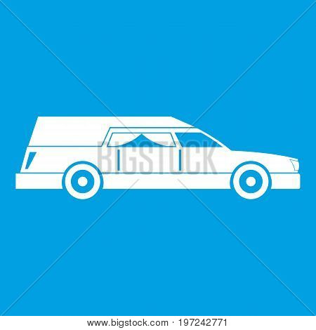 Hearse icon white isolated on blue background vector illustration