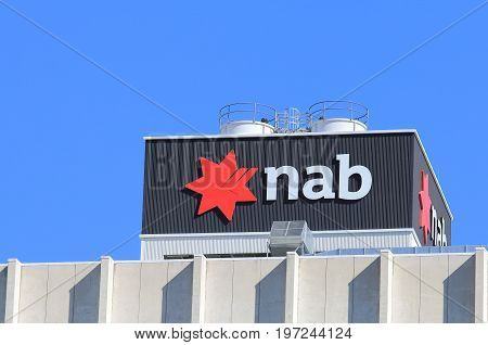 BRISBANE AUSTRALIA - JULY 9, 2017: National Australia Bank NAB. NAB is one of the four largest bank in Australia and 17th in the world.