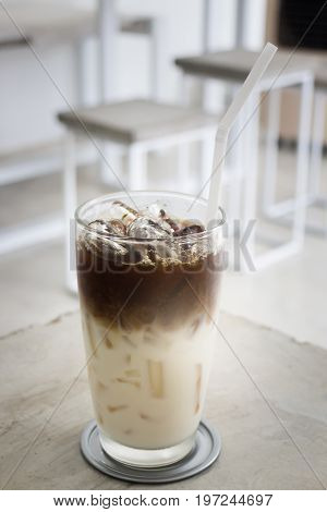 Iced coffee with soy milk stock photo