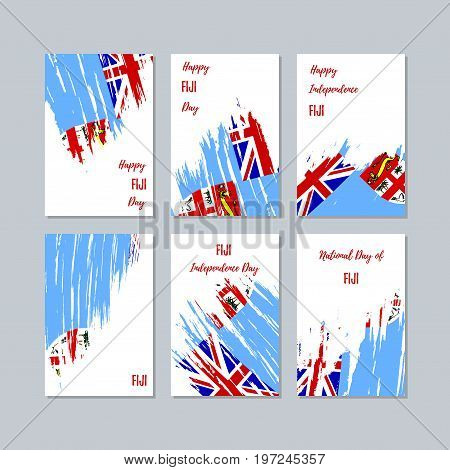 Fiji Patriotic Cards For National Day. Expressive Brush Stroke In National Flag Colors On White Card