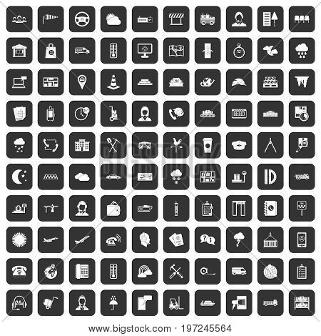 100 dispatcher icons set in black color isolated vector illustration