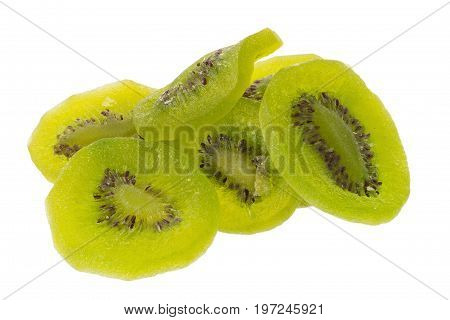 Dried Kiwi Fruit, Dried Preserved Candied Kiwifruit Slices Sugary Sweet Snack Isolated On White Back