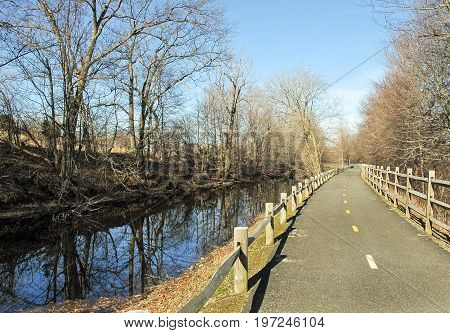 Blackstone River Bikeway running along the Blackstone Canal