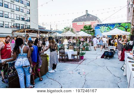 New Orleans USA - July 10 2015: Artist market in downtown with people