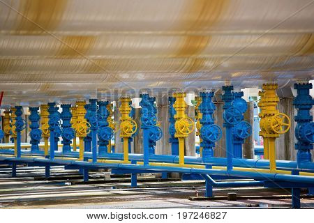 Valves At Gas Plant, Pressure Safety Valve And Gas Line Pipe These Valve Will Automatic Close When E