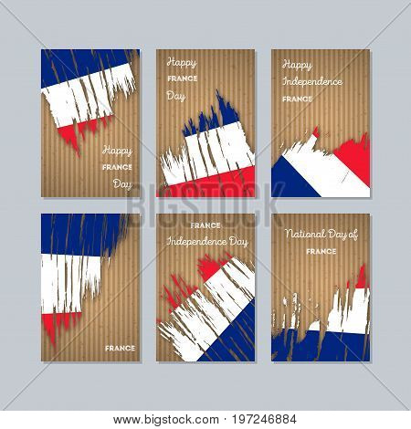 France Patriotic Cards For National Day. Expressive Brush Stroke In National Flag Colors On Kraft Pa